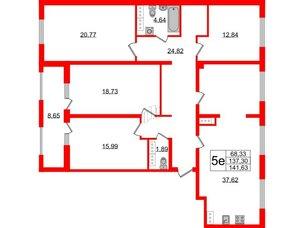 Квартира в ЖК PROMENADE, 4 комнатная, 141.63 м², 16 этаж