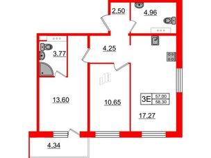 Квартира в ЖК «Новое Горелово», 2 комнатная, 58.3 м², 6 этаж