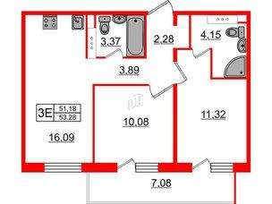 Квартира в ЖК «Новое Горелово», 2 комнатная, 53.28 м², 7 этаж