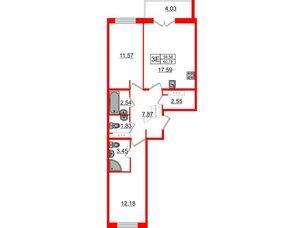 Квартира в ЖК «Новое Горелово», 2 комнатная, 60.78 м², 7 этаж