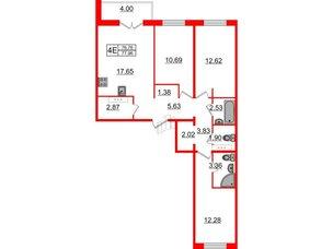Квартира в ЖК «Новое Горелово», 3 комнатная, 77.96 м², 3 этаж