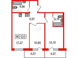 Квартира в ЖК «Новое Горелово», 2 комнатная, 59.53 м², 3 этаж