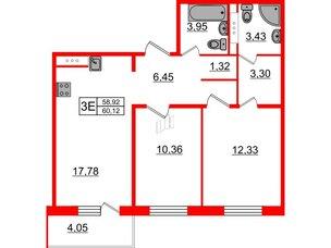 Квартира в ЖК «Новое Горелово», 2 комнатная, 60.12 м², 7 этаж