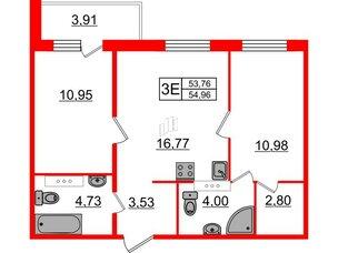 Квартира в ЖК «Новое Горелово», 2 комнатная, 54.96 м², 3 этаж