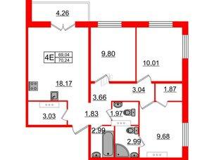 Квартира в ЖК «Новое Горелово», 3 комнатная, 70.24 м², 3 этаж