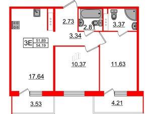 Квартира в ЖК «Новое Горелово», 2 комнатная, 54.19 м², 7 этаж