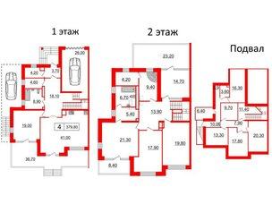 Квартира в ЖК Duderhof Club, 6 комнатная, 379.8 м², 1 этаж