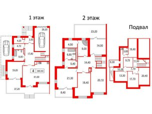 Квартира в ЖК Duderhof Club, 6 комнатная, 381.4 м², 1 этаж