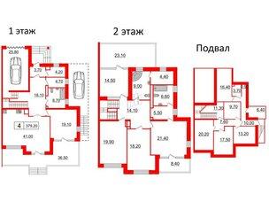 Квартира в ЖК Duderhof Club, 6 комнатная, 379.2 м², 1 этаж