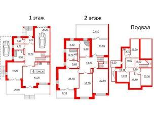 Квартира в ЖК Duderhof Club, 6 комнатная, 380.2 м², 1 этаж