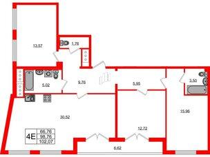 Квартира в ЖК Морская набережная.SeaView, 3 комнатная, 102.07 м², 13 этаж