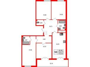 Квартира в ЖК Морская набережная.SeaView, 4 комнатная, 110.44 м², 12 этаж