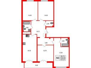 Квартира в ЖК Морская набережная.SeaView, 4 комнатная, 107.41 м², 13 этаж