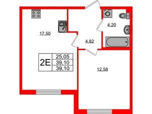 Квартира в ЖК Морская набережная.SeaView, 1 комнатная, 39.1 м², 2 этаж