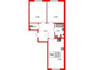 Квартира в ЖК Морская набережная.SeaView, 2 комнатная, 64.34 м², 2 этаж