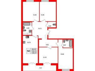 Квартира в ЖК Морская набережная.SeaView, 4 комнатная, 108.07 м², 13 этаж