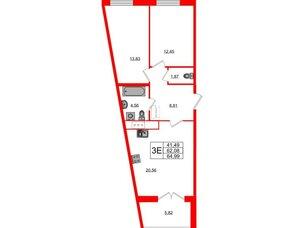 Квартира в ЖК Морская набережная.SeaView, 2 комнатная, 64.99 м², 3 этаж