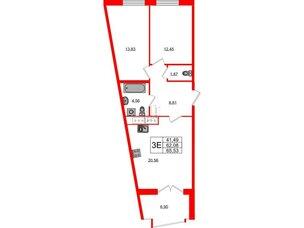 Квартира в ЖК Морская набережная.SeaView, 2 комнатная, 65.53 м², 10 этаж