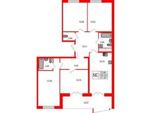Квартира в ЖК Морская набережная.SeaView, 4 комнатная, 111.97 м², 12 этаж