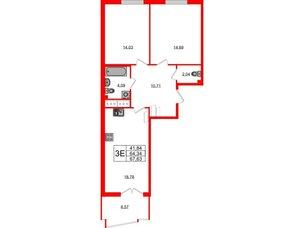 Квартира в ЖК Морская набережная.SeaView, 2 комнатная, 67.63 м², 3 этаж