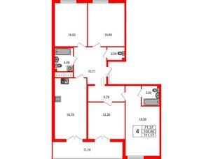 Квартира в ЖК Морская набережная.SeaView, 4 комнатная, 111.17 м², 12 этаж