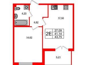 Квартира в ЖК Морская набережная.SeaView, 1 комнатная, 43.75 м², 3 этаж