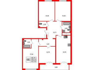 Квартира в ЖК Морская набережная.SeaView, 4 комнатная, 107.4 м², 13 этаж