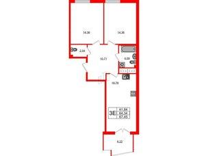 Квартира в ЖК Морская набережная.SeaView, 2 комнатная, 67.45 м², 3 этаж