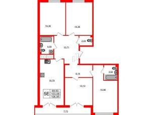 Квартира в ЖК Морская набережная.SeaView, 4 комнатная, 106.95 м², 13 этаж