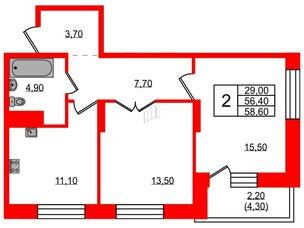 Квартира в ЖК Жемчужный каскад, 2 комнатная, 59.4 м², 17 этаж