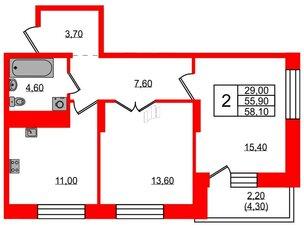 Квартира в ЖК Жемчужный каскад, 2 комнатная, 59 м², 21 этаж