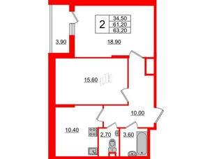 Квартира в ЖК Квартал Che, 2 комнатная, 63.2 м², 1 этаж