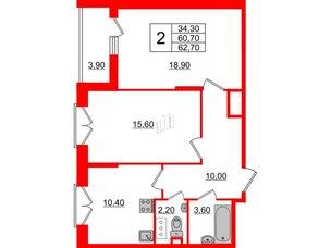 Квартира в ЖК Квартал Che, 2 комнатная, 62.7 м², 4 этаж