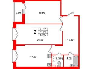 Квартира в ЖК Квартал Che, 2 комнатная, 83 м², 3 этаж