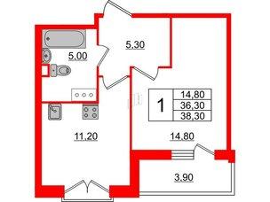 Квартира в ЖК Квартал Che, 1 комнатная, 38.3 м², 4 этаж