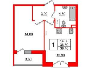 Квартира в ЖК Квартал Che, 1 комнатная, 38.4 м², 4 этаж