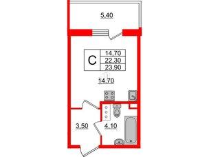 Квартира в ЖК Квартал Che, студия, 23.9 м², 4 этаж