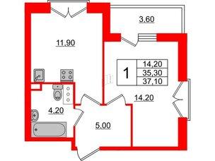 Квартира в ЖК Квартал Che, 1 комнатная, 37.1 м², 4 этаж