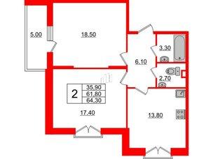Квартира в ЖК Квартал Che, 2 комнатная, 64.3 м², 4 этаж