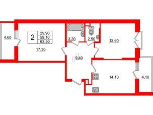 Квартира в ЖК Квартал Che, 2 комнатная, 63.5 м², 4 этаж