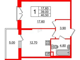 Квартира в ЖК Квартал Che, 1 комнатная, 40.5 м², 4 этаж