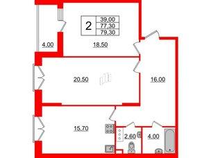 Квартира в ЖК Квартал Che, 2 комнатная, 79.3 м², 2 этаж