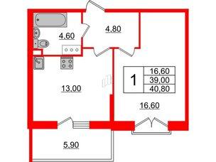 Квартира в ЖК Квартал Che, 1 комнатная, 40.8 м², 4 этаж