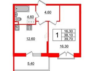 Квартира в ЖК Квартал Che, 1 комнатная, 39.7 м², 4 этаж