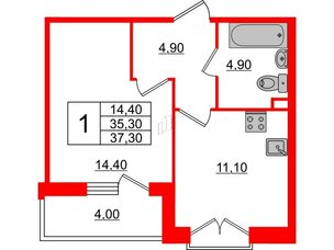 Квартира в ЖК Квартал Che, 1 комнатная, 37.3 м², 2 этаж