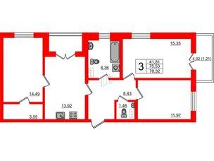 Квартира в ЖК Янила Драйв, 3 комнатная, 78.32 м², 7 этаж