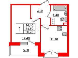 Квартира в ЖК Квартал Che, 1 комнатная, 36.7 м², 4 этаж