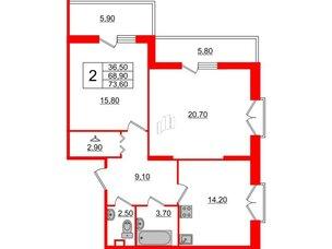 Квартира в ЖК Квартал Che, 2 комнатная, 73.6 м², 2 этаж