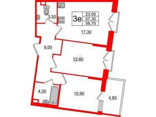 Квартира в ЖК Квартал Che, 2 комнатная, 58.7 м², 2 этаж