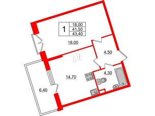Квартира в ЖК Квартал Che, 1 комнатная, 43.4 м², 4 этаж